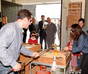 HRH The Prince of Wales visiting Notarianni glass based in Parkway Farm