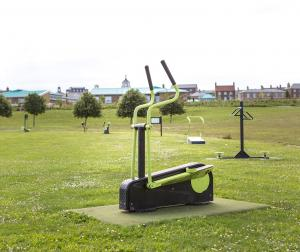 Outdoor gym equipment on the Great Field