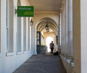 The collonade leading to Waitrose